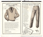 Banana Republic Catalog No.10 Holiday 1982 Artist and Writer Seater, Khaki Trousers