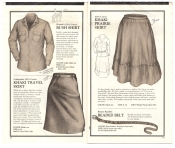 Banana Republic Catalog No.10 Holiday 1982 Women\'s Bush Shirt, Khaki Travel Skirt, Khaki Prairie Skirt, BR Beaded Belt