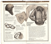 Banana Republic Catalog No.10 Holiday 1982 Lambskin Flight Helmet, Aviator\'s Scarf, British Cycling Goggles, WW2 Goggle Kit, Goatskin Flight Jacket
