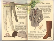 Banana Republic Catalog #34 Holiday 1987 Corduroy Trousers, Knit Cap, Women's Donegal Tweed Jacket, Pedestrienne Boots