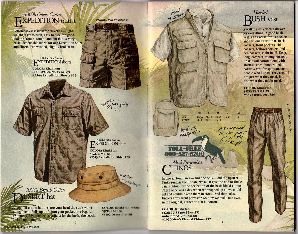 Banana Republic Catalog 22 Spring 1985 Expedition Shorts Shirt Desert Hat
