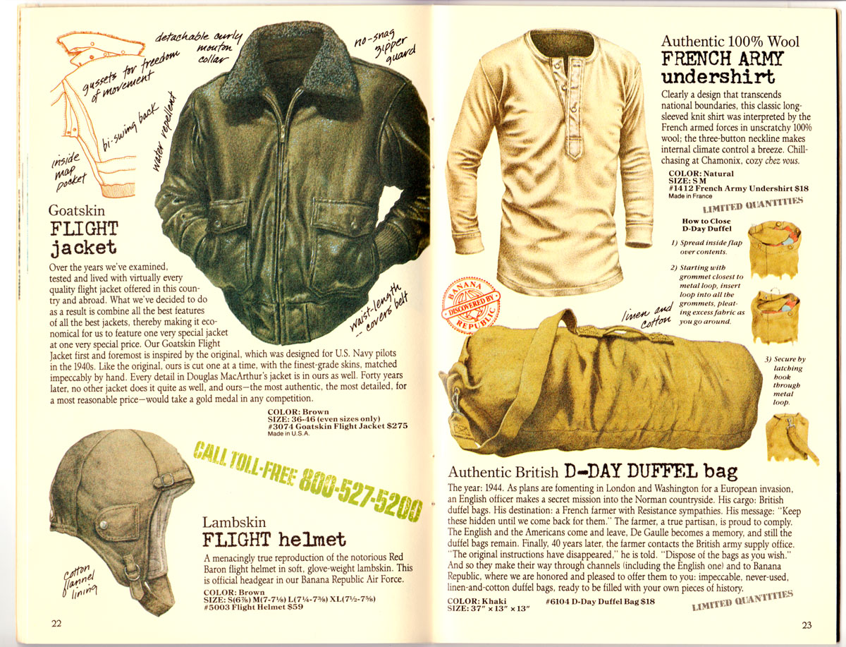Banana Republic #27 Spring 1986 Goatskin Flight Jacket, Flight Helmet, French Army Undershirt, D-Day Duffel Bag