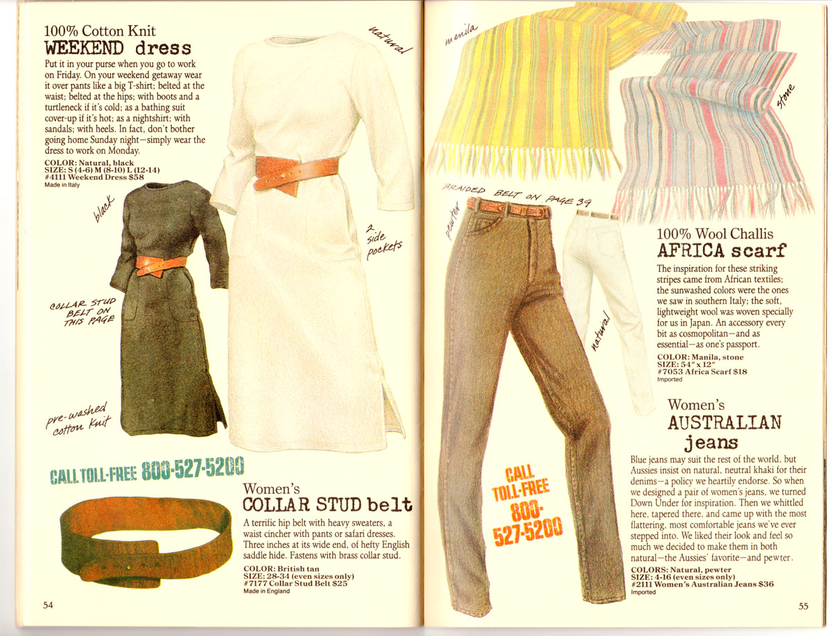 Banana Republic #27 Spring 1986 Weekend Dress, Collar Stud Belt, Africa Scarf, Australian Jeans