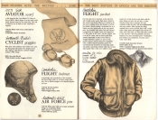 Banana Republic Catalog No. 16 Holiday 1983 Aviator's Scarf, Lambskin Flight Helmet, British Cyclist Goggles, WW2 Pin, Goatskin Flight Jacket