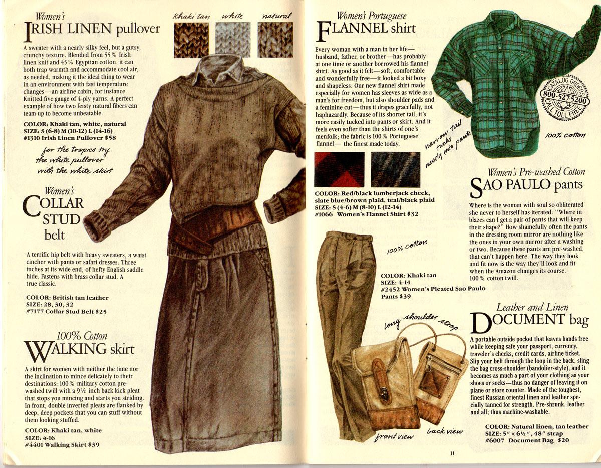 Banana Republic #21 Christmas 1984 Irish Linen Pullover Sweater, Collar Stud Belt, Walking Skirt, Portuguese Flannel Shirt, Sao Paulo Pants, Document Bag