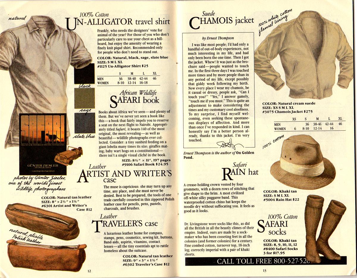 Banana Republic #21 Christmas 1984 Un-Alligator Shirt, Gunter Ziesler African Safari Book, Leather Traveler's Case, Leather Artist's and Writer's Case, Edward Thompson Testimonial, Suede Chamois Jacket, Safari Rain Hat, Safari Socks