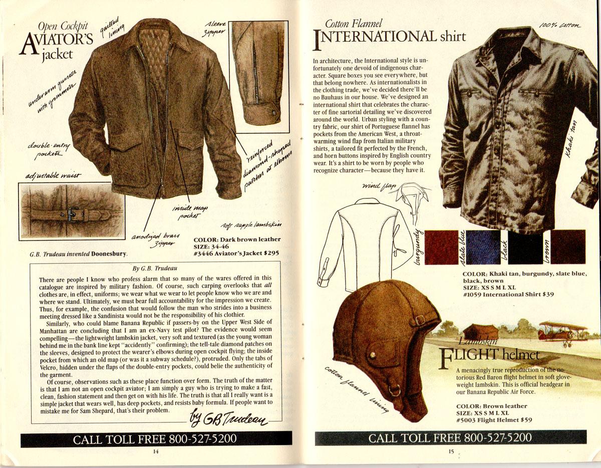 Banana Republic #21 Christmas 1984 Aviator's Jacket, GB Trudeau Testimonial, International Shirt, Lambskin Flight Helmet