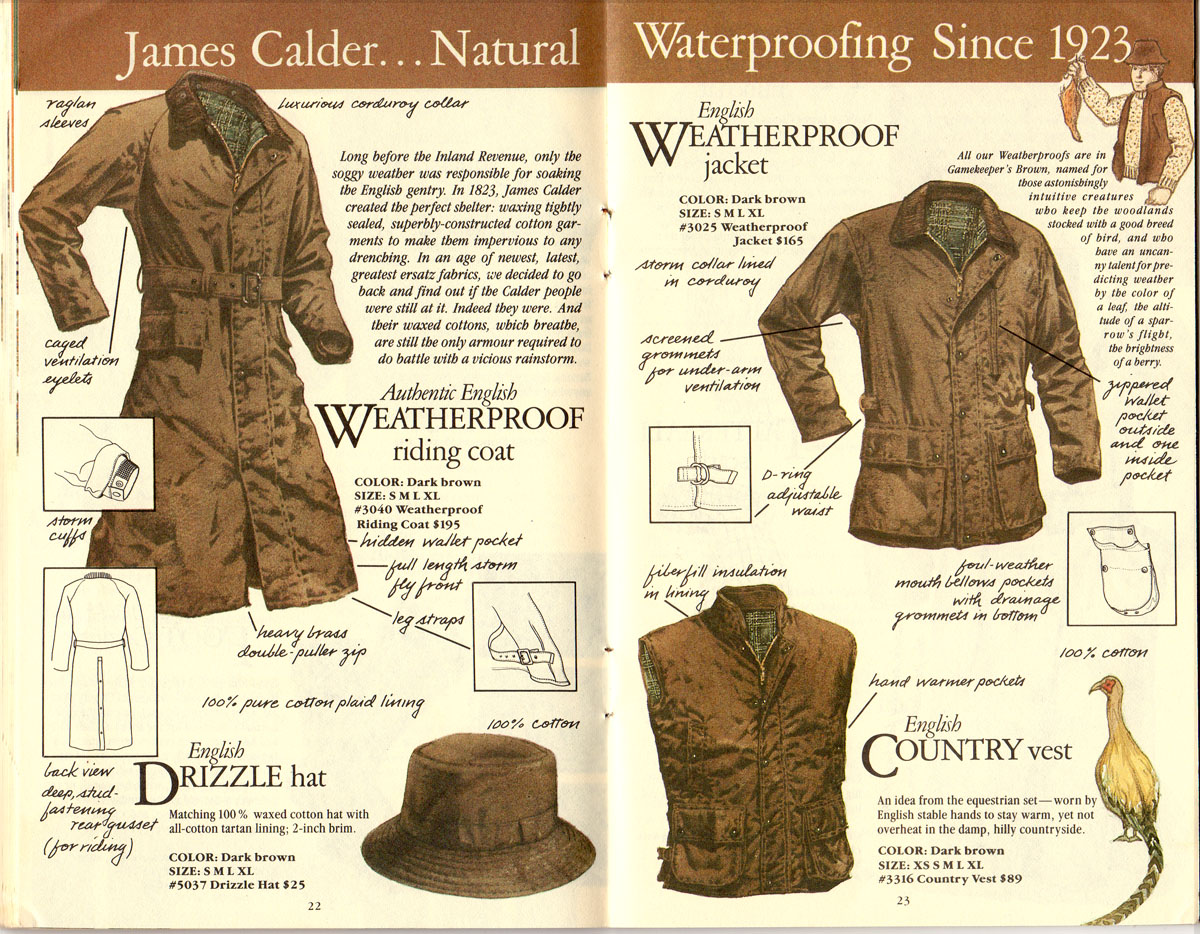 Banana Republic #21 Christmas 1984 English Weatherproof Riding Coat, Jacket, Country Vest, Drizzle Hat