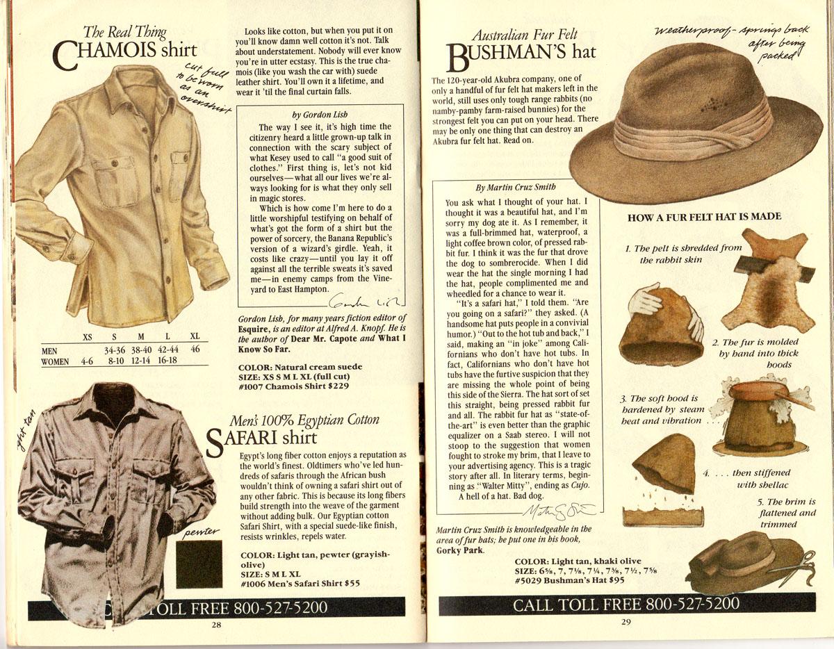 Banana Republic #21 Christmas 1984 Chamois Shirt, Safari Shirt, Australian Fur Felt Bushman's Hat