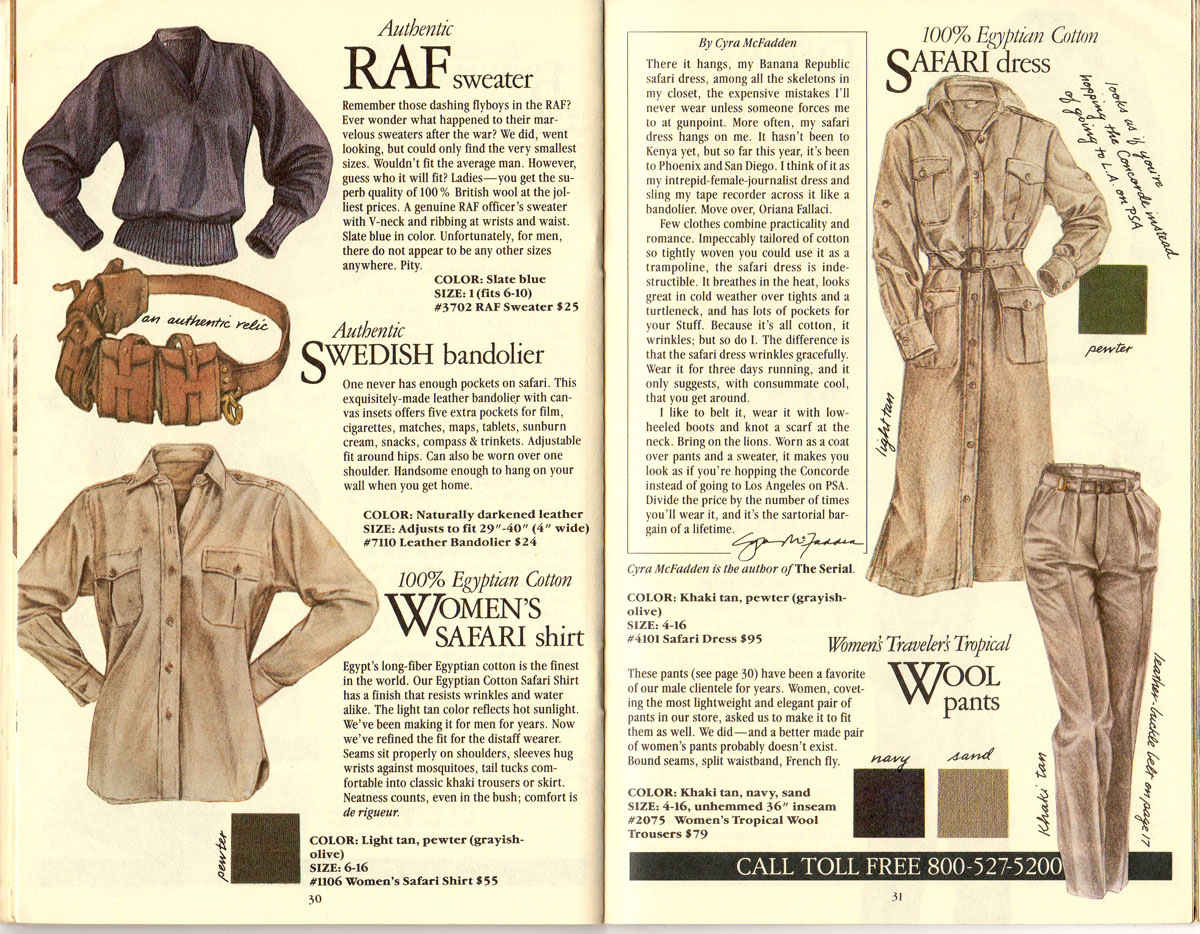 Banana Republic #21 Christmas 1984 RAF Sweater, Swedish Bandolier, WOmen's Safari Shirt, Safari Dress, Traveler's Tropical Wool Pants