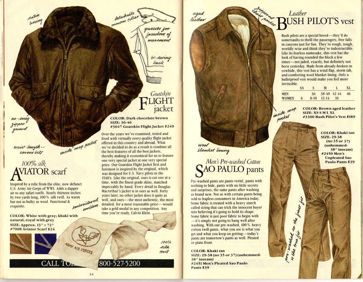 Banana Republic #21 Goatskin Flight Jacket, Aviator's Scarf, Bush vest, Sao Paulo Pants