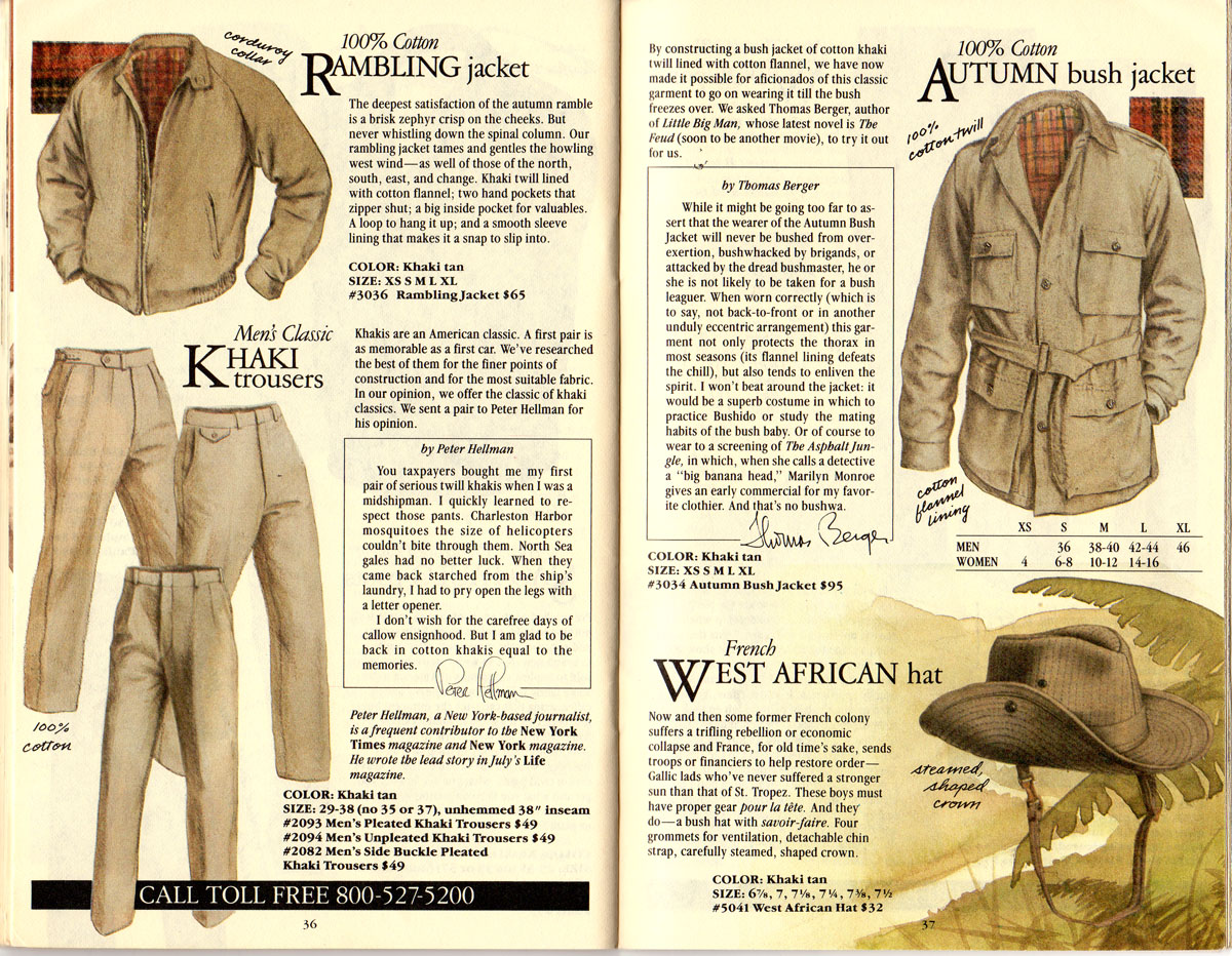 Banana Republic #21 Christmas Rambling Jacket, Khaki Trousers, Autumn Bush Jacket, French West African Hat