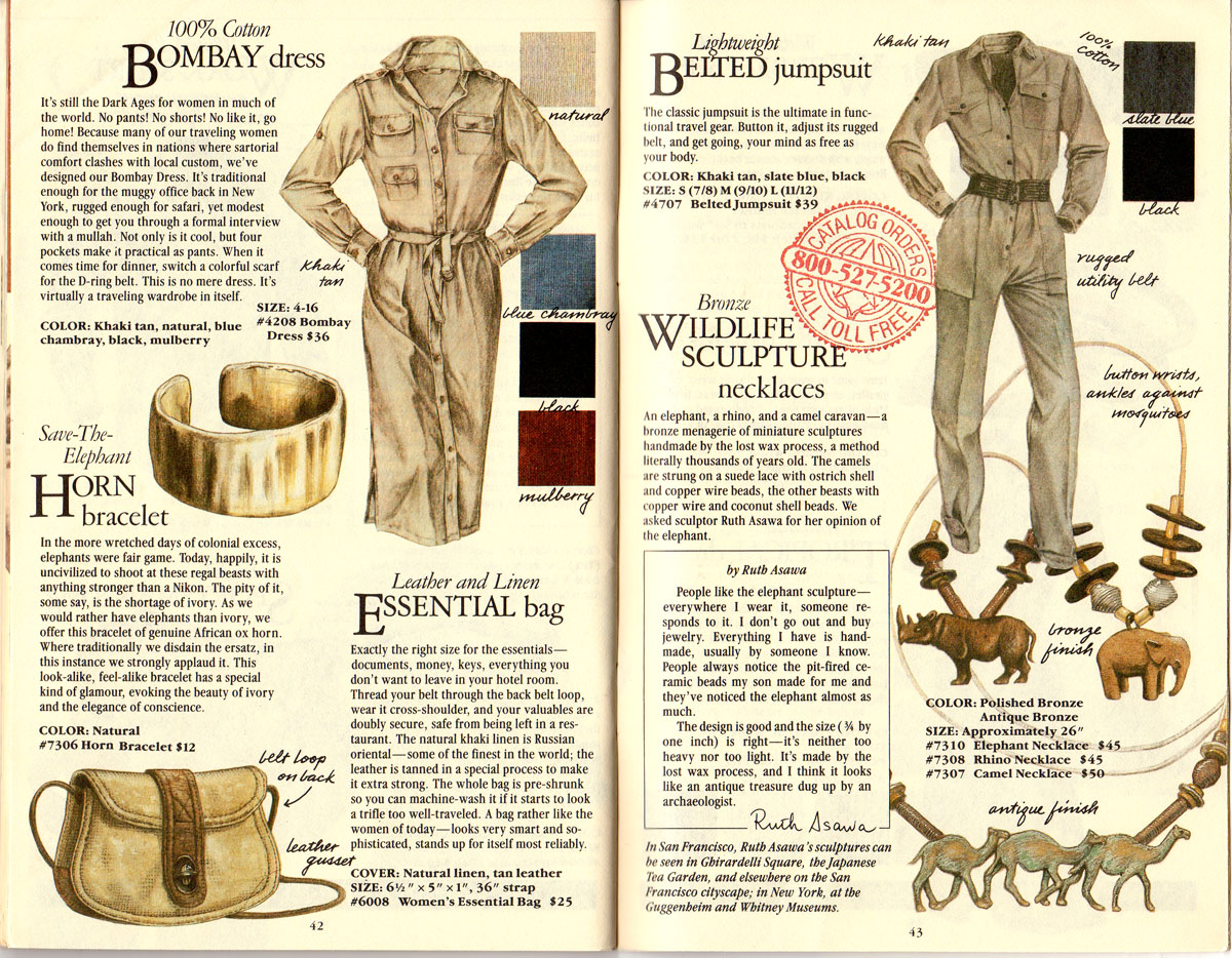 Banana Republic #21  Christmas Bombay Dress, Save-The-Elephant Ox Horn Bracelet, Essentials Bag, Belted Jumpsuit, African Sculpture Necklaces
