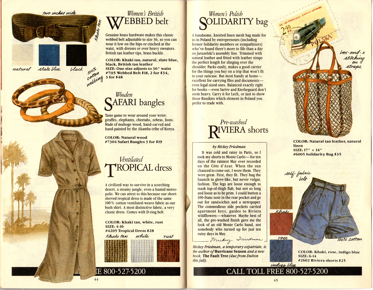 Banana Republic #21  Christmas British Webbed Belt, Safari Bangles, Ventilated Tropical Dress, Polish Solidarity Bag, Riviera Shorts