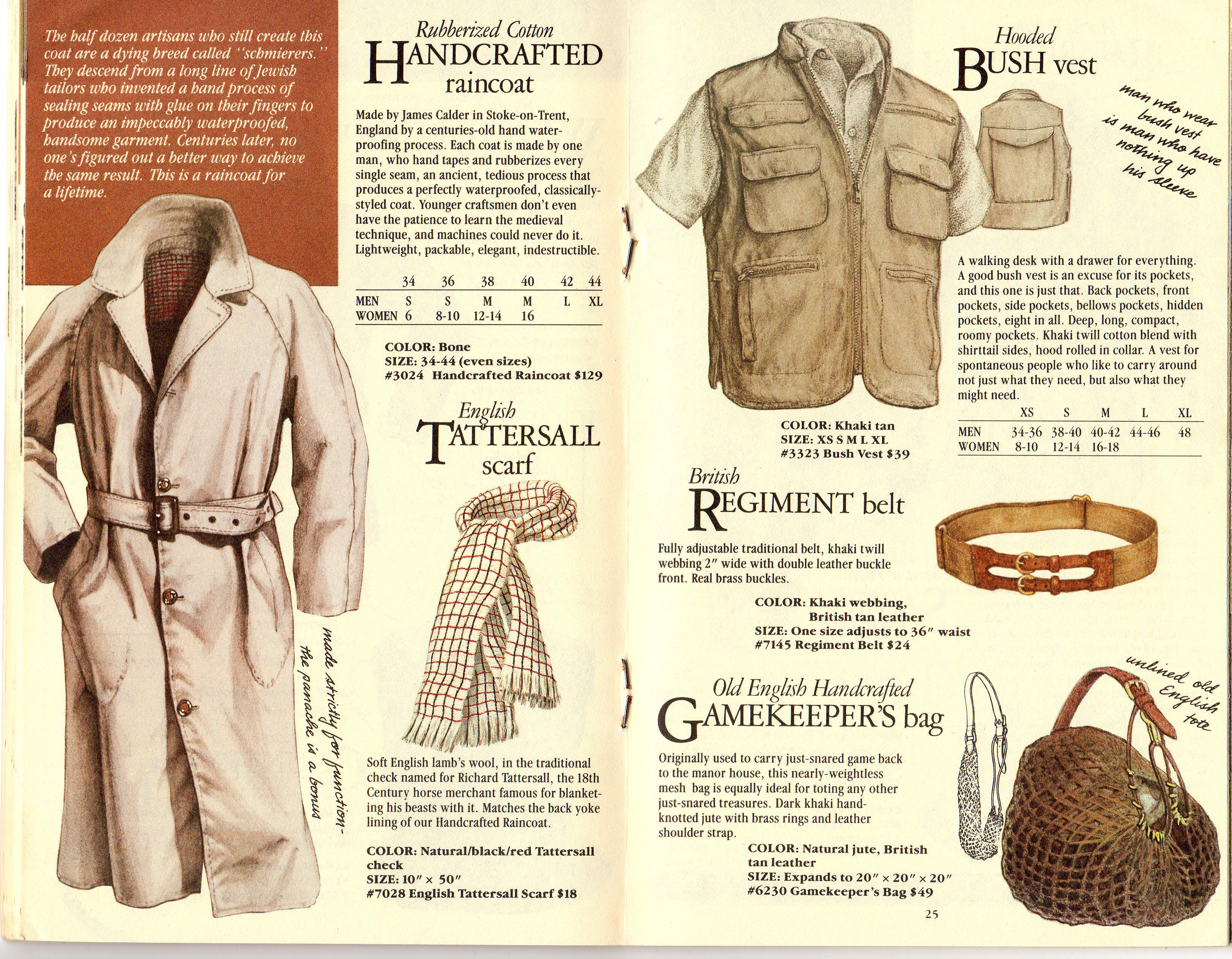 Banana Republic #21 Christmas 1984 Handcrafted Raincoat, Tattersall Scarf, Hooded Bush Vest, British Regiment Belt, Gamekeeper's Bag