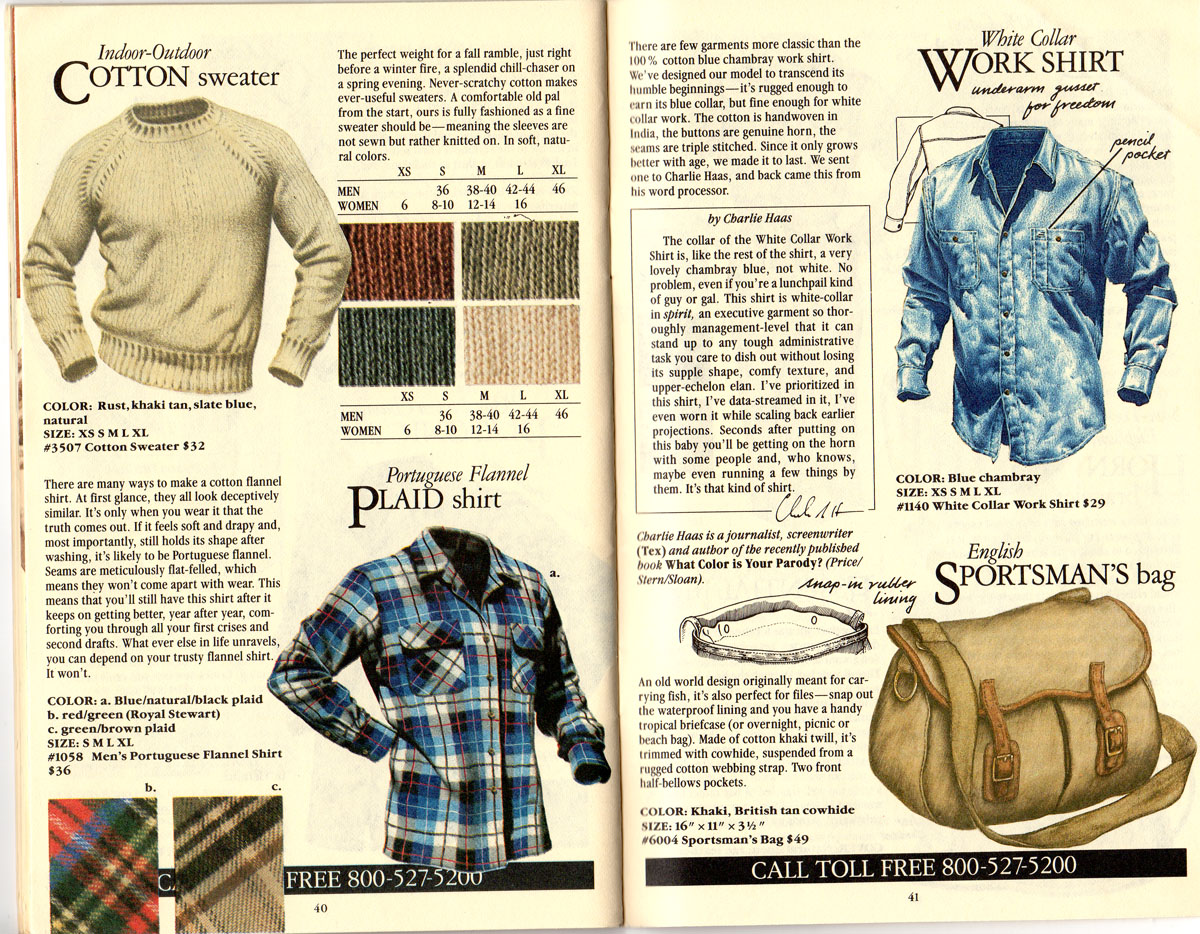 Banana Republic #21 Christmas Indoor-Outdoor Sweater, Portuguese Plaid Flannel Shirt, White Collar Work Shirt, English Sportsman's Bag