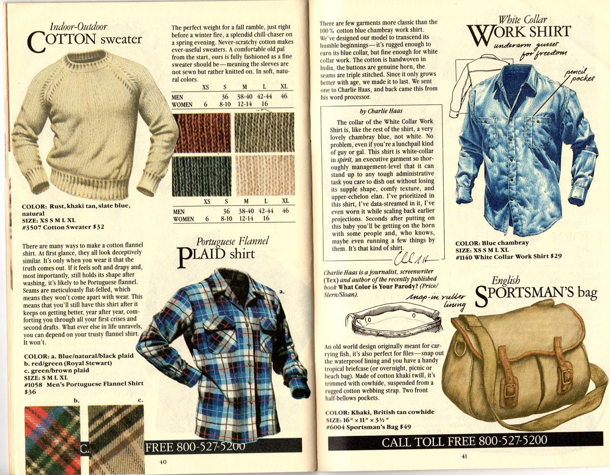 Banana Republic #21 Christmas Indoor-Outdoor Sweater, Portuguese Plaid Flannel Shirt, White Collar Work Shirt, English Sportsman's Bag