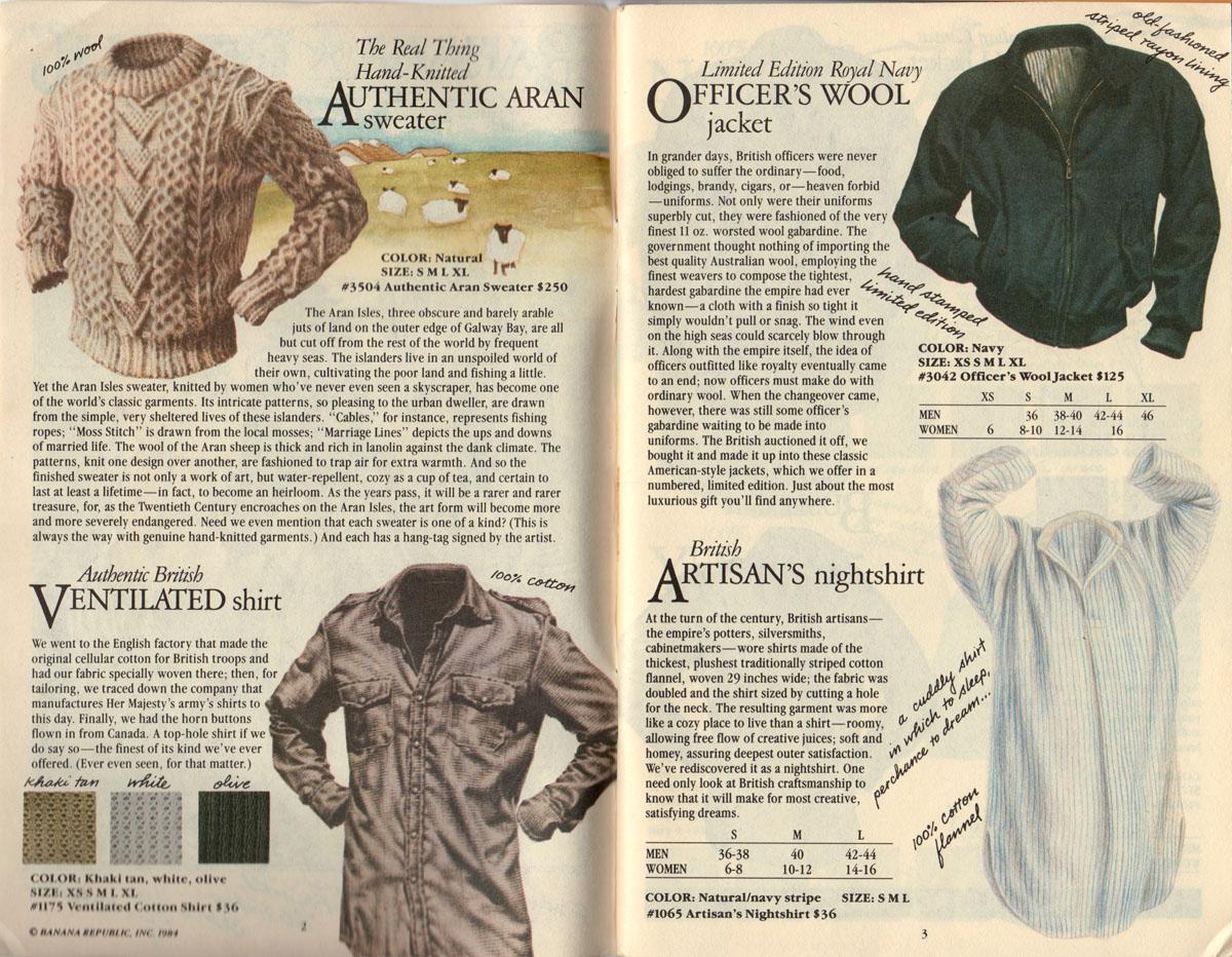 Banana Republic #17  Christmas 1984 Arans Sweater, Ventilated Shirt, Officer's Wool Jacket, Artisan's Nightshirt