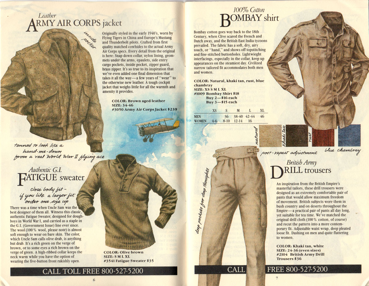 Banana Republic #21 Christmas 1984 Army Air Corps Jacket, GI Fatigue Sweater, Bombay Shirt, British Army Drill Trousers