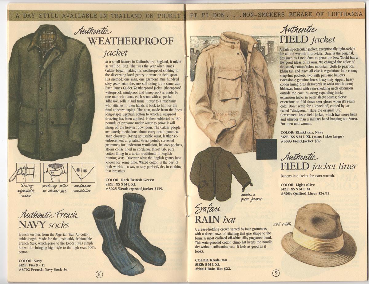 Banana Republic Catalog 17 Winter 1984, Weatherproof jacket, Field Jacket, French Navy Socks, Safari Rain Hat