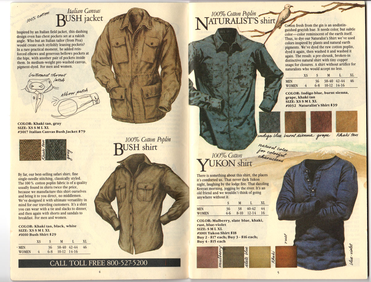 Banana Republic Fall UPDATE 1984 Bush Jacket, Bush Shirt, Naturalist\'s Shirt, Yukon Shirt