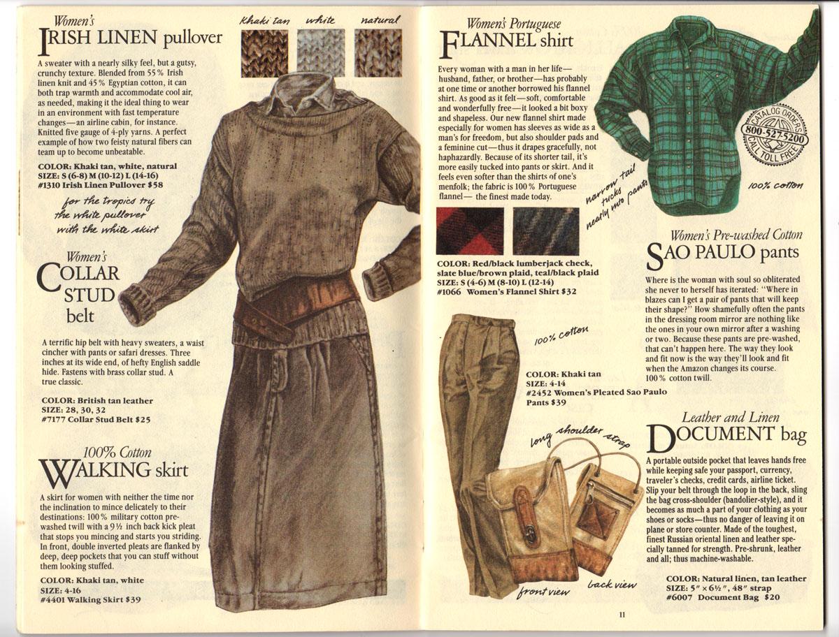 Banana Republic Fall UPDATE 1984 Irish Linen Pullover, Walking Skirt, Flannel Shirt, Women\'s Sao Paulo Pants, Document Bag