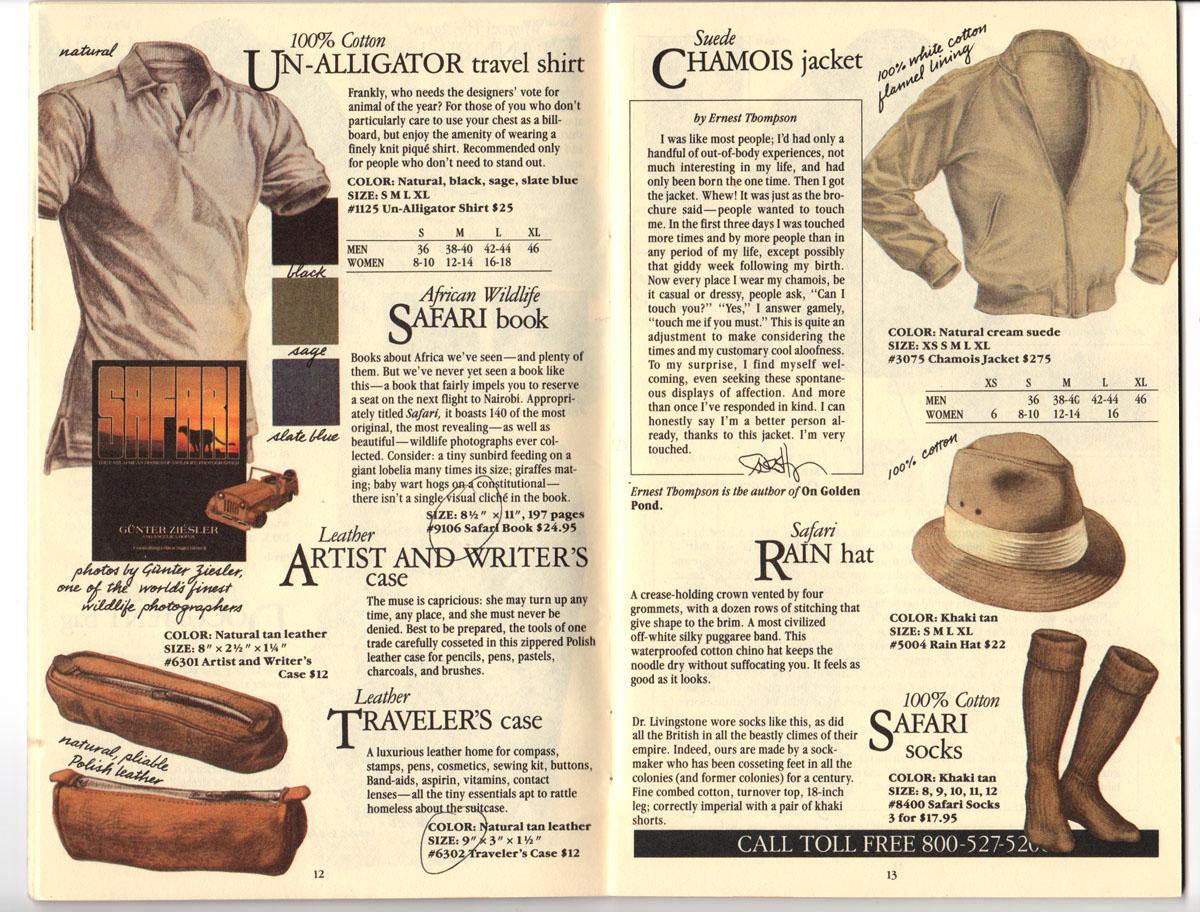 Banana Republic Fall UPDATE 1984 Un-Alligator Shirt, Artist and Writer\'s Case, Traveler\'s Case, Chamois Jacket, Safari Rain Hat, Safari Socks