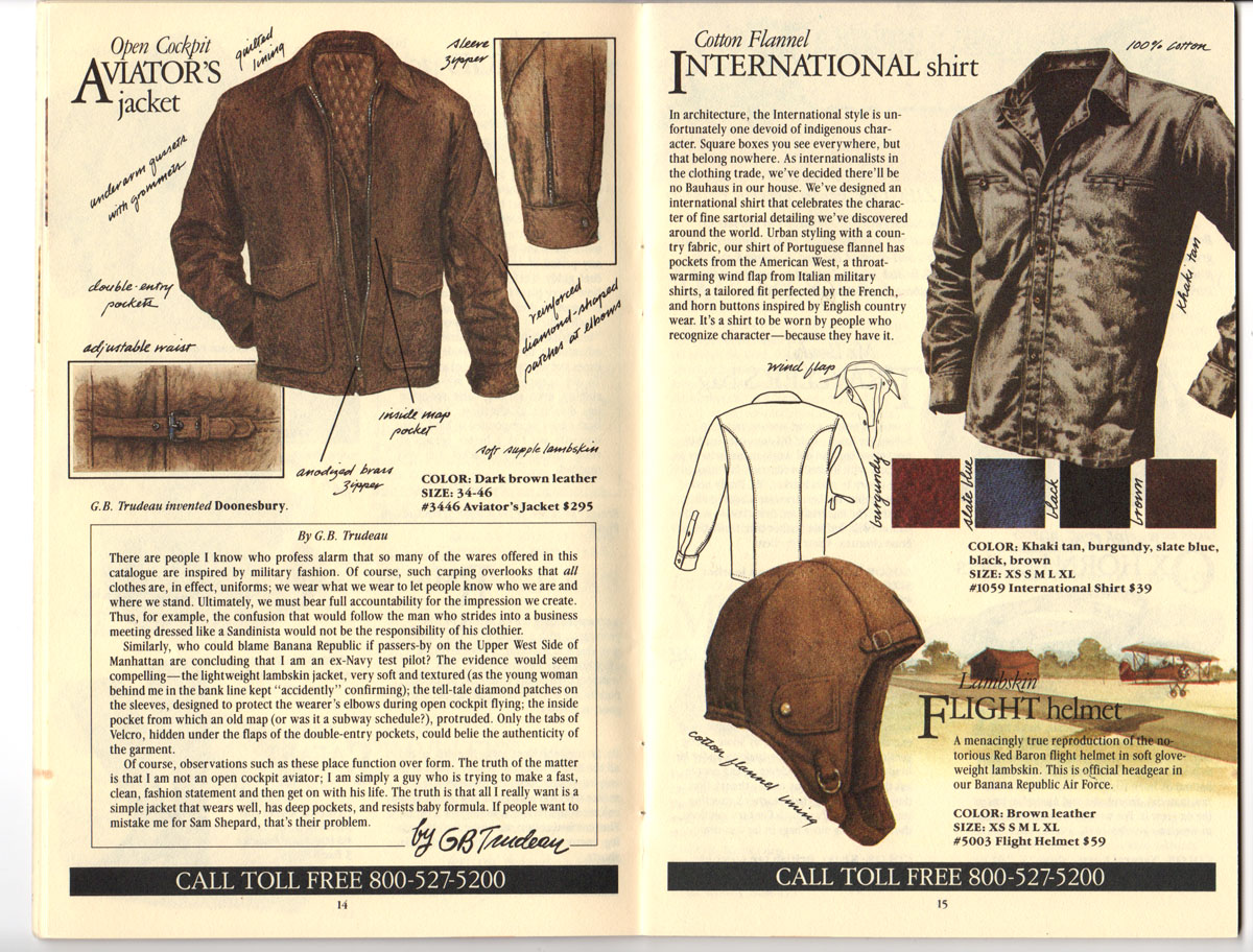 Banana Republic Fall UPDATE 1984 Open Cockpit Aviator\'s Jacket, International Shirt, Flight Helmet