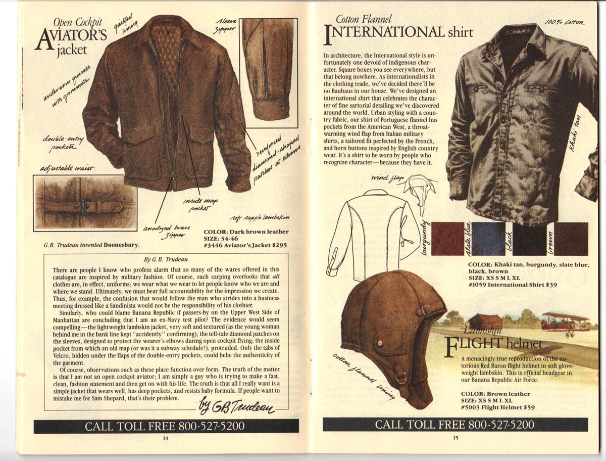 Banana Republic Fall UPDATE 1984 Open Cockpit Aviator\'s Jacket, International Shirt, Flight Helmet