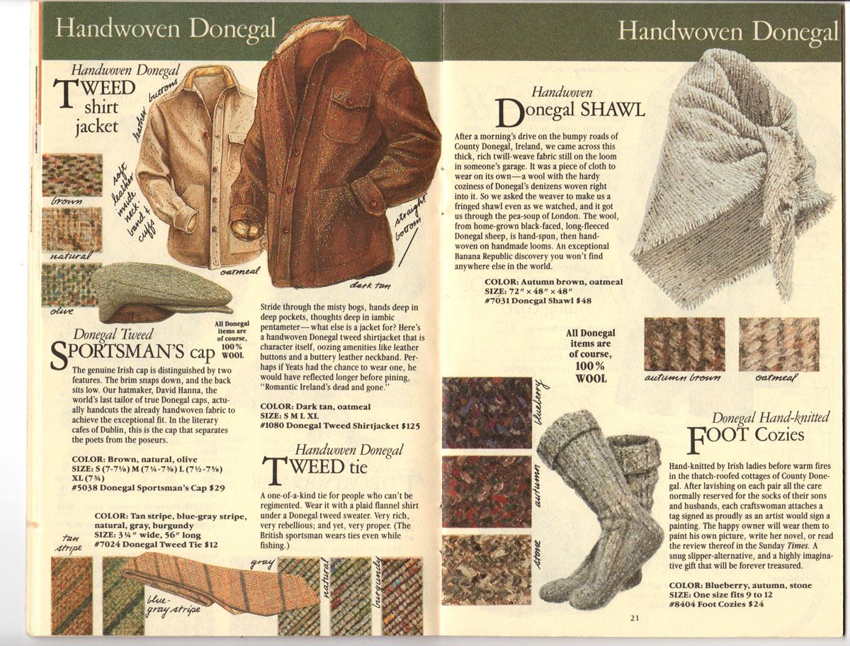 Banana Republic Fall UPDATE 1984 Donegal Tweed Jacket, Sportaman\'s Hat, Tweed Tie, Donegal Shawl, Foot Cozies