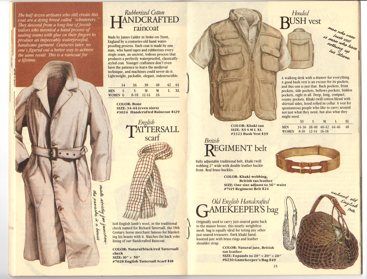 Banana Republic Fall UPDATE 1984 Handcrafted Raincoat, Tattersall Scarf, Hooded Bush Vest, British Regiment Belt, Gamekeeper\'s Bag