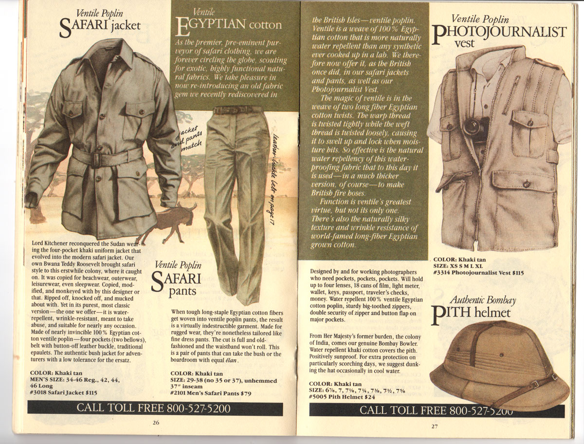 Banana Republic Fall UPDATE 1984 Safari Jacket, Safari Pants, Photojournalist\'s Vest, Pith Helmet