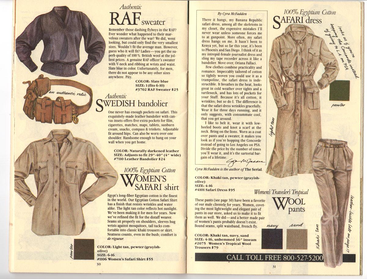 Banana Republic Fall UPDATE 1984 RAF Sweater, Swedish Bandolier, Women\'s Safari Shirt, Safari Dress, Traveler\'s Tropical Wool Pants,