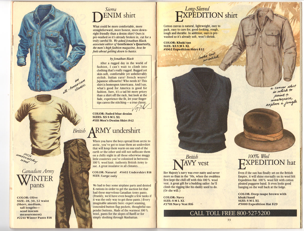 Banana Republic Fall UPDATE 1984   Denim Shirt, Canadian Army Winter Pants, British Army Undershirt, Expediation Shirt, British Navy Vest, Expedition Hat