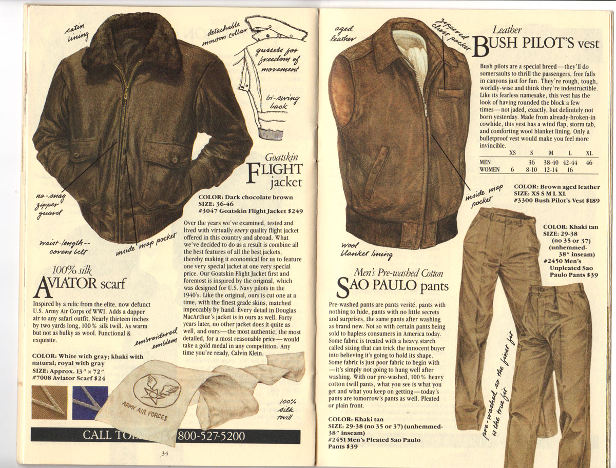 Banana Republic Fall UPDATE 1984 Goatskin Flight Jacket, Aviator\'s Scarf, Bush Vest, Sao Paulo Pants