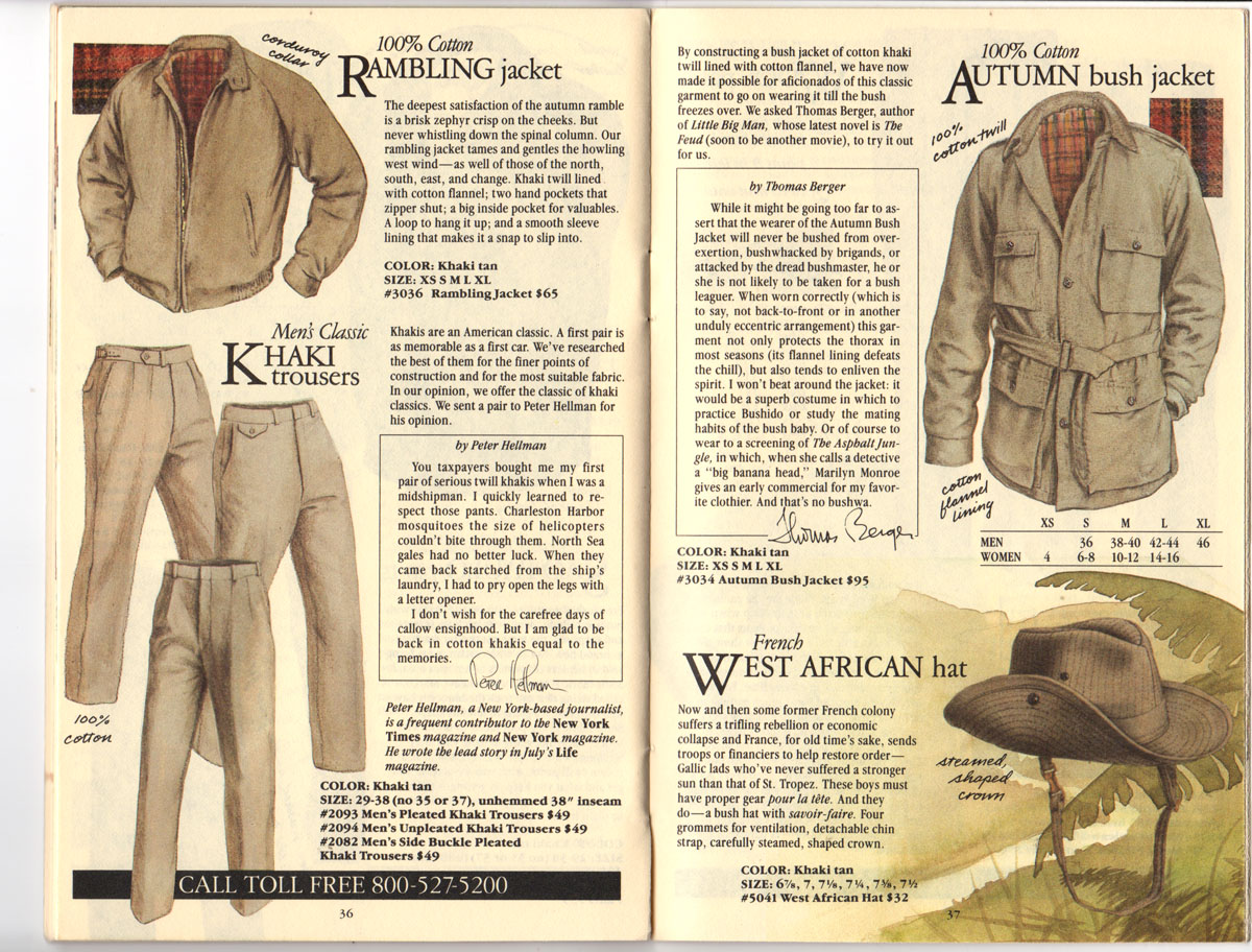 Banana Republic Fall UPDATE 1984 Rambling Jacket, Khaki Trousers, Autumn Bush Jacket, French West African Hat