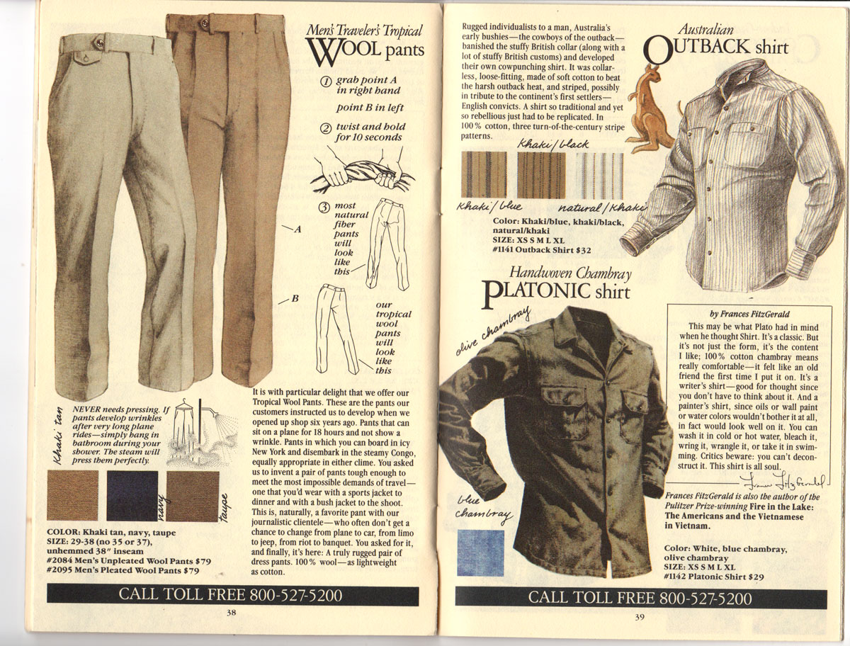 Banana Republic Fall UPDATE 1984 Tropical Wool Pants, Australian Outback Shirt, Platonic Shirt