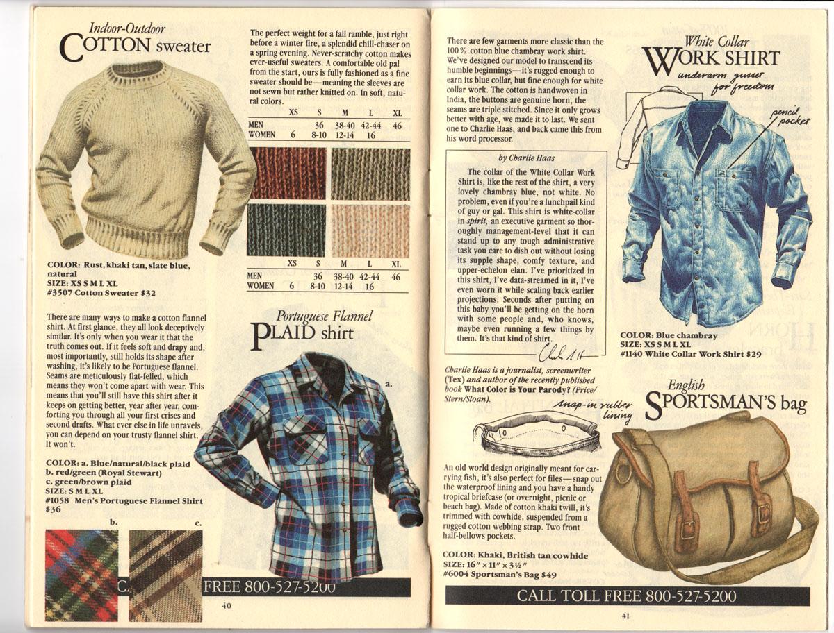 Banana Republic Fall UPDATE 1984 Indoor-Outdoor Sweater, Portuguese Plaid Flannel Shirt, White Collar Work Shirt, English Sportsman\'s Bag