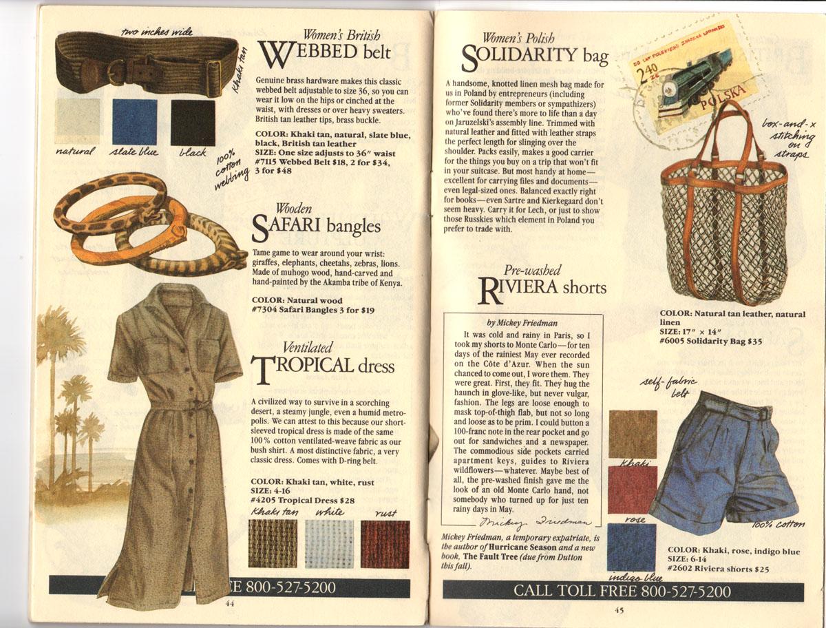 Banana Republic Fall UPDATE 1984 British Webbed Belt, Safari Bangles, Ventilated Tropical Dress, Polish Solidarity Bag, Riviera Shorts