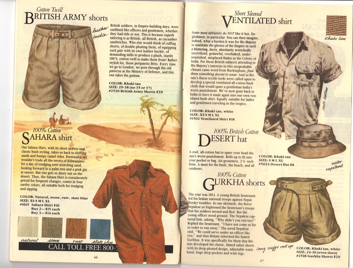 Banana Republic Fall UPDATE 1984  British Army Shorts, Sahara Shirt, Ventilated Shirt, Desert Hat, Gurkha Shorts
