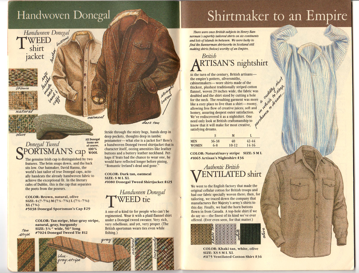 Banana Republic #20 Fall 1984 Donegal Tweed Jacket, Sportaman\'s Hat, Tweed Tie, Ventilated Shirt, Artisan\'s Nightshirt