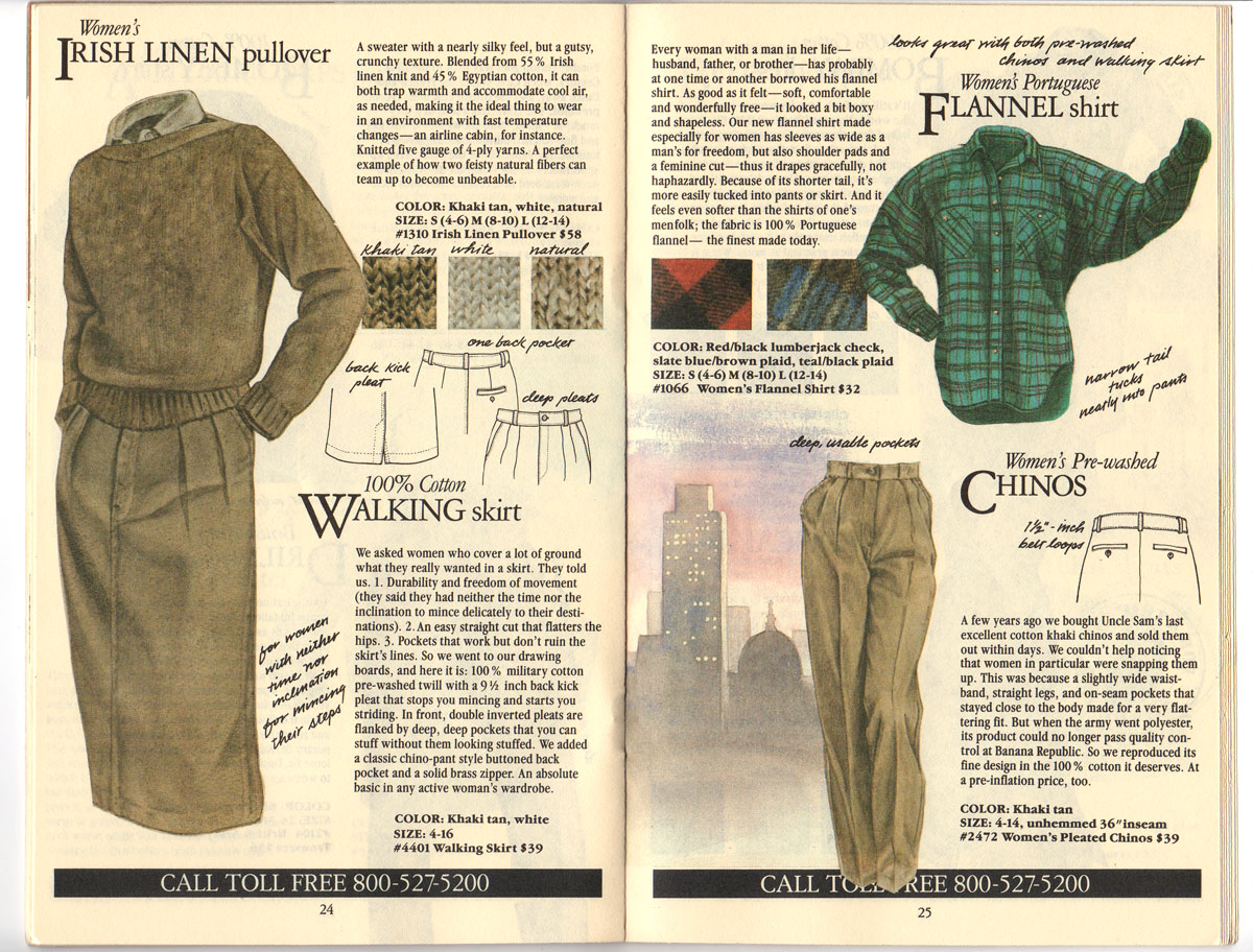 Banana Republic #20 Fall 1984 Irish Linen Pullover, Walking Skirt, Flannel Shirt, Women\'s Chinos