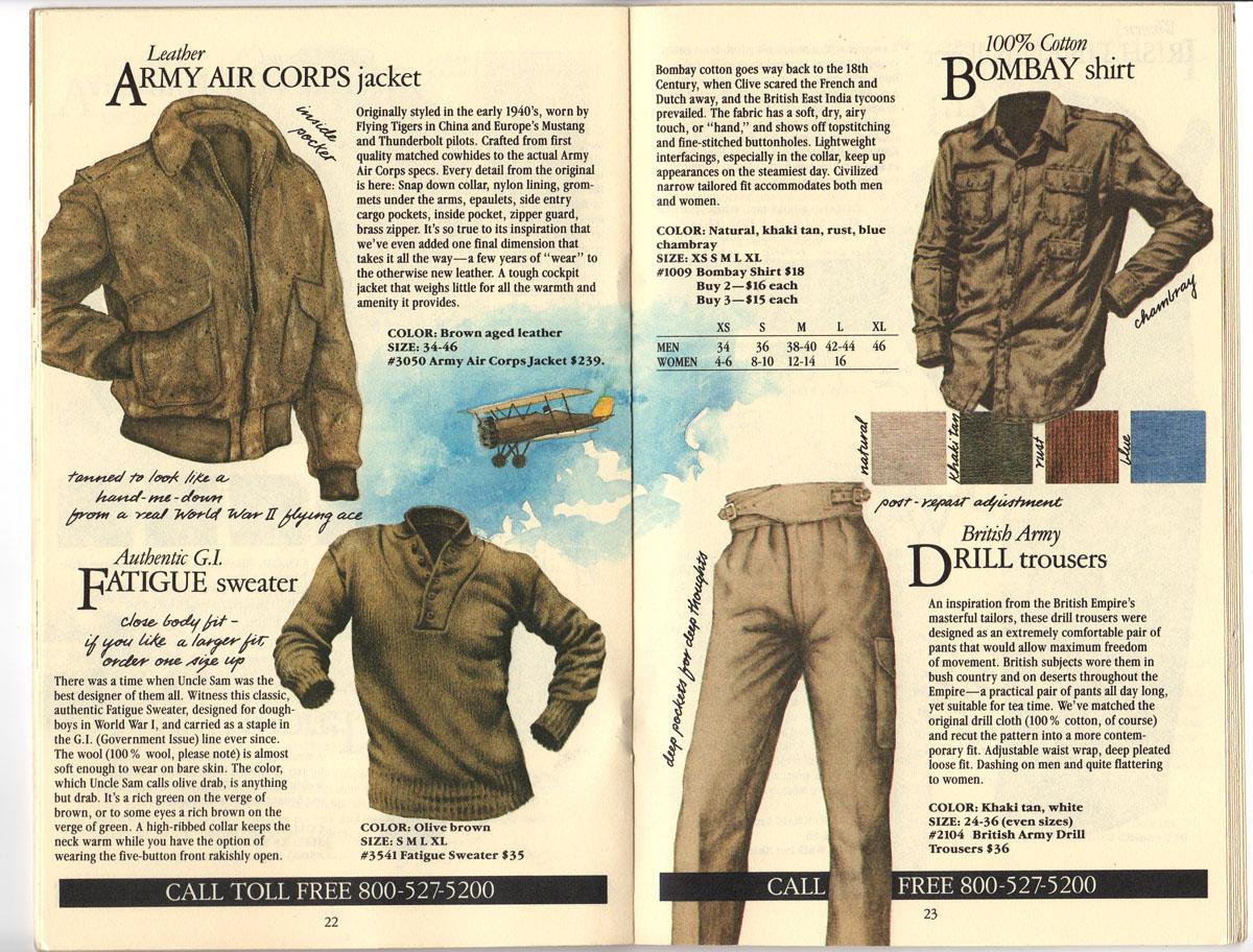 Banana Republic #20 Fall 1984 Army Air Corps Jacket, Fatigue Sweater, Bombay Shirt, Drill Trousers