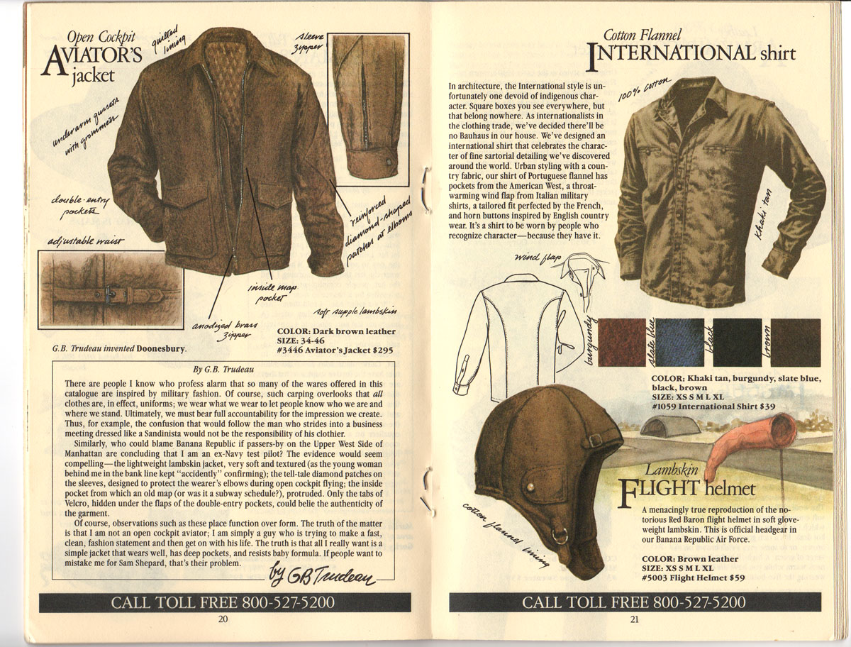 Banana Republic #20 Fall 1984 Open Cockpit Aviator\'s Jacket, International Shirt, Flight Helmet
