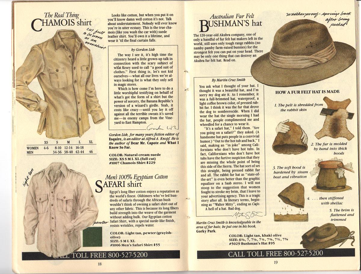 Banana Republic #20 Fall 1984 Chamois Shirt, Safari Shirt, Australian Fur Felt Bushman\'s Hat,