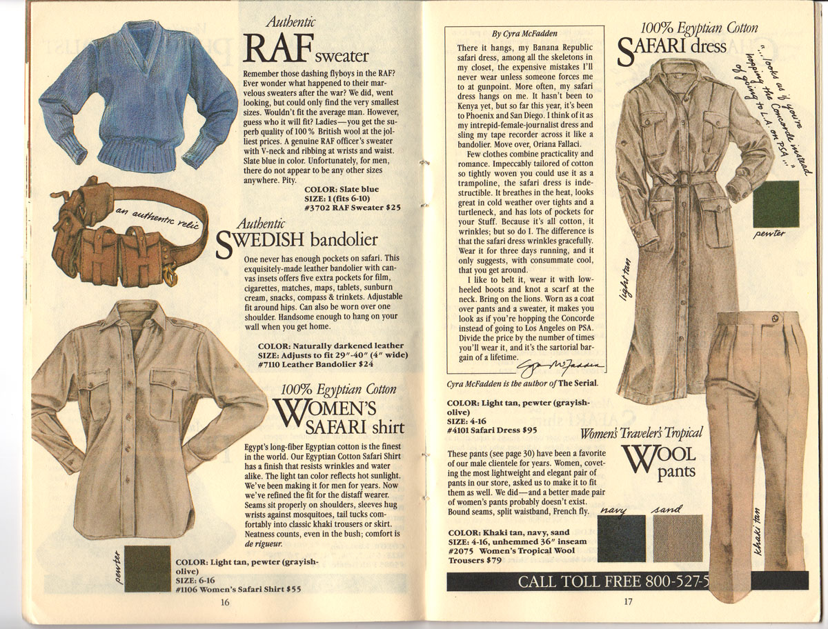Banana Republic #20 Fall 1984 RAF Sweater, Swedish Bandolier, Women\'s Safari Shirt, Safari Dress, Traveler\'s Tropical Wool Pants,