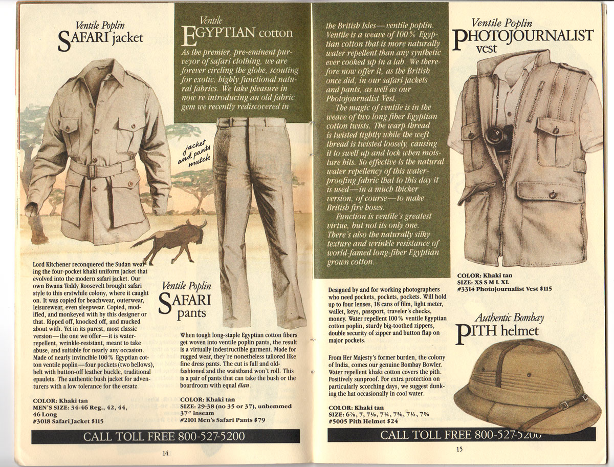 Banana Republic #20 Fall 1984 Safari Jacket, Photojournalist\'s Vest, Pith Helmet