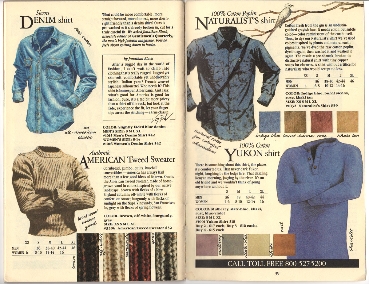 Banana Republic #20 Fall 1984 Sierra denim Shirt, American Tweed Sweater, Naturalist\'s Shirt, Yukon Shirt