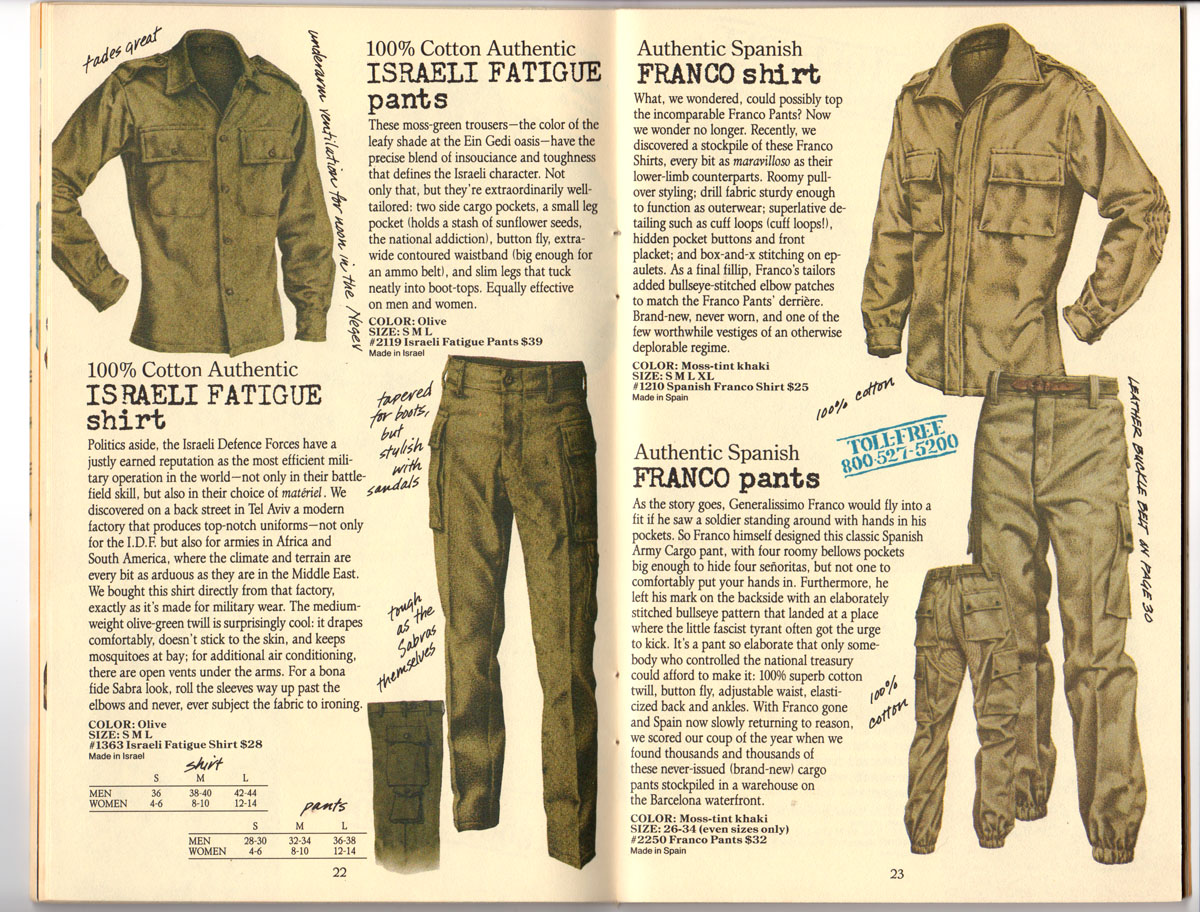 Banana Republic #25, Fall 1985 Israeli Fatigue Shirt, Israeli Fatigue Pants, Franco Shirt, Franco Pants