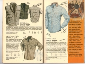 Banana Republic #25, Fall 1985 Hooded Bush Vest, Bush Shirt, Corduroy Collar Denim Shirt
